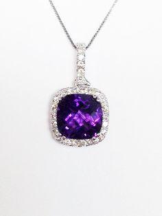 Amethyst Gemstone Cushion Halo White Gold Diamond Necklace