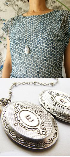 Oval Locket Initial Necklace