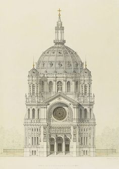 Drawing of the main facade of the Church of Saint Augustin, Paris, by Victor Baltard, c. 1868 - 1871.