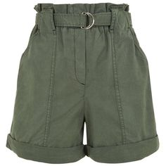 Pinko Viticoltore Shorts ($105) ❤ liked on Polyvore featuring shorts, pleated shorts, pocket shorts, pleated khaki shorts, cuffed shorts and green shorts
