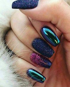 50 beautiful metallic nail art designs to try - cheeky mix with . - 50 beautiful metallic nail art designs to try – cheeky mix metallic nail art – - Red Chrome Nails, Chrome Mirror Nails, Chrome Nails Designs, Metallic Nails, Gold Nails, Acrylic Nail Designs, Nail Art Designs, My Nails, Acrylic Nails
