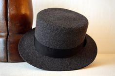 Dark Gray Tweed Wool Felt Boater Hat - Flat Brim Flat Crown Pure Wool Felt Boat / Boaters / Riding / Bolero Hat - Men Women