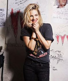 Drew Barrymore. I always love her makeup. Hair with Iron Maiden t shirt