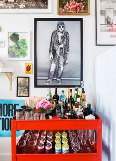 """My vintage bar cart is a longtime favorite,"" she said. ""I bought it for $30 at a yard sale. A few coats of spray paint changed it from an old school AV cart to an excellent bar for entertaining...."