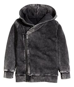 Black washed out. Cardigan in lightweight, washed-look sweatshirt fabric with a lined hood. Off-center zip and ribbing at cuffs and hem.