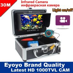 "142.79$  Buy now - http://aligdo.worldwells.pw/go.php?t=32666429767 - ""Eyoyo Original 30M 1000TVL Underwater Fishing Camera Video Recording DVR Fish Finder 7"""" Monitor Infrared IR LED Free Sunvisor"""