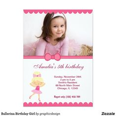 Sold #Ballerina #Birthday #Girl #Invitation #kids Available in different products. Check more at www.zazzle.com/graphicdesign