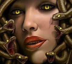 Medusa. era un monstruo ctónico femenino, que convertía en piedra a aquellos que la miraban fijamente a los ojos. Fue decapitada por Perseo, quien después usó su cabeza como arma hasta que se la dio a la diosa Atenea para que la pusiera en su escudo, la égida.