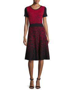 Short-Sleeve+Ombre+Fit-&-Flare+Dress,+Black/Red+by+Carmen+by+Carmen+Marc+Valvo+at+Neiman+Marcus.