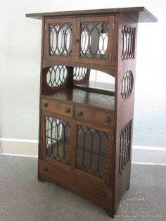Most Unusual Solid Oak Antique Mission Arts & Crafts Curio Cabinet Habitat Furniture, Bookshelves, Bookcase, Craftsman Style Furniture, Craft Cabinet, Arts And Crafts Furniture, Art And Craft Design, Arts And Crafts Movement, Art Deco