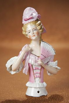 """View Catalog Item - Theriault's Antique Doll Auctions  German Porcelain Half Doll """"Lady with Pink Bonnet and Fan"""""""