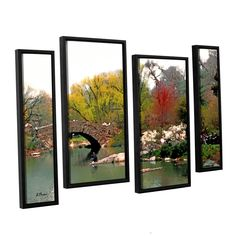Saturday Central Park by Linda Parker 4 Piece Floater Framed Painting Print on Canvas Set