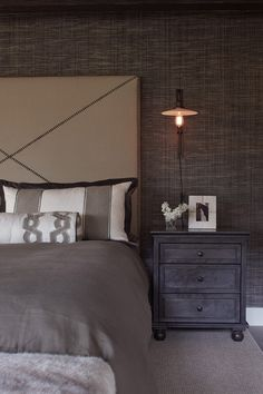sophisticated bedroom at the Tahoe Modern Mansion,designed by Artistic Designs located in the Homewood Mountain Ski Resort Modern Rustic Bedrooms, Shabby Chic Bedrooms, Rustic Modern, Dream Bedroom, Home Bedroom, Bedroom Decor, Budget Bedroom, Bedroom Ideas, Beach Bedding Sets