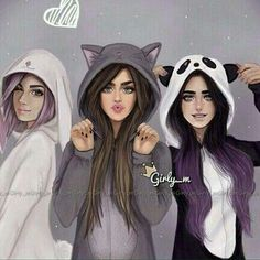 Grafika girly_m, drawing, and friends Best Friends Cartoon, Friend Cartoon, Three Best Friends, Cute Friends, Best Friends Forever, Cute Best Friend Drawings, Bff Drawings, Drawings Of Friends, Friends Sketch