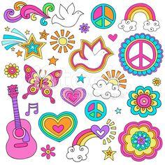 Frieden und Liebe psychedelische Blumen Kritzeleien Set-Power lizenzfreie Stock-Vektorgrafik