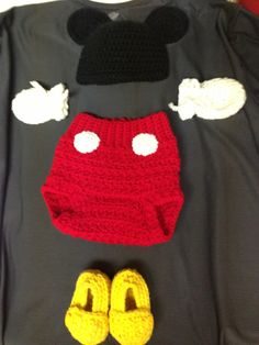 Mickey Mouse baby outfit.