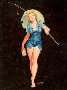 Girls Gone Fishing #vintage. http://www.pinterest.com/jr88rules/nose-art-pinup-girls/ #NoseArt #PinupGirls
