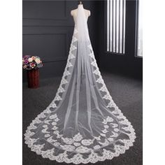 One-tier Lace Applique Edge Cathedral Bridal Veils With Lace (006114040)