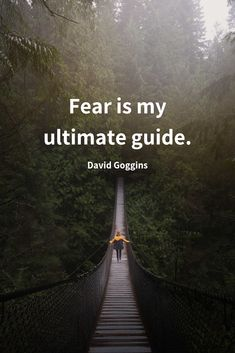 """Fear is my ultimate guide."" Motivating, Inspiring quote about fear by David Goggins from the School of Greatness Podcast with Lewis Howes."