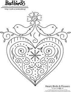 Heart, Birds and Flowers,  January's Free Embroidery Pattern by badbird, via Flickr