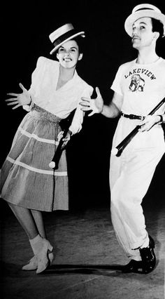 """Judy Garland and Gene Kelly rehearsing a dance number for """"For Me and My Gal"""". (1942)"""