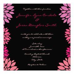 Purple Pink and Black Flower Wedding Invitations