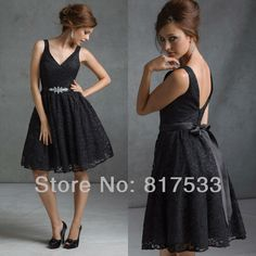 Aliexpress.com : Buy formal dresses short prom dress 2013 cheap bridesmaid gown a line knee length silk ribbon black lace wedding guest women from Reliable Bridesmaid Dresses suppliers on Online Store 327184 $96.00