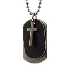 Men's Black Leather Necklace - Silver Metal Ball Chain with Dog Tag & Cross Pendants - Army Spiritual Style - Adjustable. $12.90 #necklace #men #pendant #dogtag #metal #silver #leather #black #cross