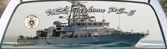 USS Typhoon PC-5 is a US Navy Patrol Boat truck rear window graphic.
