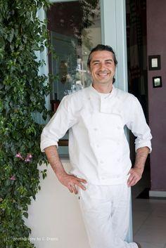 Chef Dimitris Lazarou at the Saltsa restaurant in Santorini White Eggplant Recipes, Santorini, Chefs, Chef Jackets, Restaurant, Kitchen, Cooking, Diner Restaurant, Kitchens