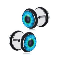 Stainless Steel 5 Color Acrylic Eyes Eyeball Stud Earrings pair