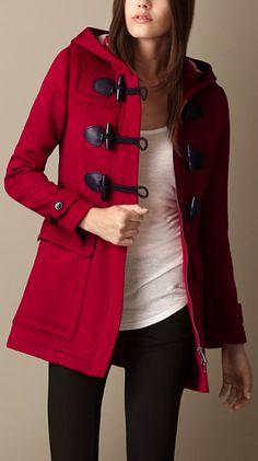 Red duffelcoat