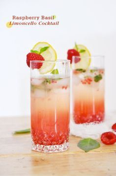 Raspberry Basil Limoncello Cocktail