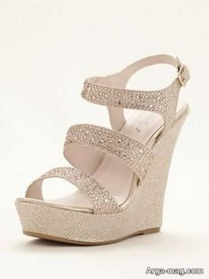 50e888d070f4 Open toe wedge sandal features dazzling glitter fabric embellished with  rhinestones along straps. Ankle strap with adjustable buckle ensures a ...