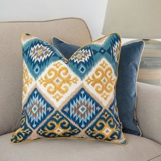 Purple Pillows, Gold Pillows, Orange Pillows, Boho Cushions, Velvet Cushions, Pipe Decor, Embroidered Cushions, Shades Of Gold, Ethnic Patterns