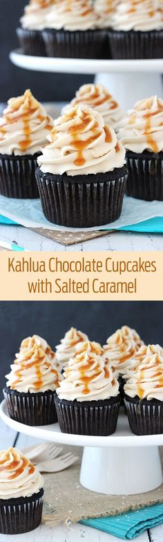 Cupcakes with Salted Caramel Kahlua Chocolate Cupcakes with a Salted Caramel Drizzle! So moist and delicious!Kahlua Chocolate Cupcakes with a Salted Caramel Drizzle! So moist and delicious! No Bake Desserts, Just Desserts, Delicious Desserts, Spanish Desserts, Portuguese Desserts, Delicious Chocolate, Healthy Desserts, Cupcake Recipes, Baking Recipes