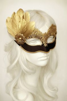 Black & Gold Lace Masquerade Mask - Venetian Style Halloween Mask With Feathers - For Masquerade Ball, Prom, Costume Party, Wedding Lace Masquerade Masks, Masquerade Party, Black Satin, Black Gold, Venitian Mask, Gold Feathers, Gold Lace, Halloween Masks, Party Wedding