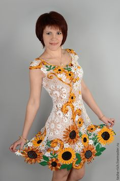 """Dresses handcrafted. Fair Masters - handmade. Buy """"Sunflowers"""" Copyright dress. Handmade. White, Openwork, Irish crochet"""