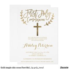 Gold simple chic cross First Holy Communion Card Custom invitations - Make your special day with these personalized change the colors font and images and make them your own. Disney Invitations, Sweet 16 Invitations, Engagement Party Invitations, Zazzle Invitations, Invitation Templates, First Communion Invitations, Birthday Invitations, Shower Invitations, Shower Favors