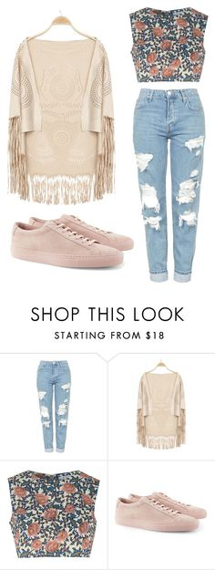""""""""""" by enekouski ❤ liked on Polyvore featuring Topshop, Glamorous and Common Projects"""