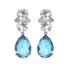 Earrings with Blue Quartz and White Quartz