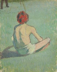 Boy in the grass, 1886 by Emile Bernard. Post-Impressionism. genre painting