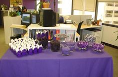 Purple Take out boxes - purple candy for the candy bar.