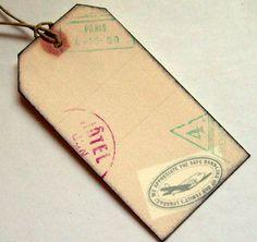 Destination luggage tags, mini, wedding travel passport, set of 20. $16.00, via Etsy.