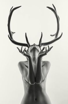 Mihaela as Cerynitis (edition of 15), a Black & White on Paper by Laurence Winram from United Kingdom. It portrays: relevant to: beauty, deer, antlers, girl, myth, mythology, From a shoot in the studio the other day with my photographer friend Mihaela.
