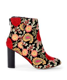 Embroidered high shaft bootie with a chunky heel and almond toe | Sole Society Olympia
