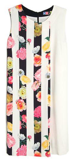 Msgm Floral Stripe Print Dress in White (floral) - Lyst