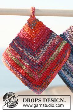 Ensemble de 2 Maniques DROPS au crochet en Muskat soft ~ DROPS Design