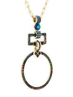 Elie Saab collier long à pendentif rond