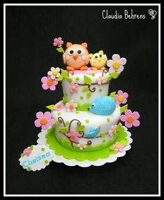 Owl hedgehog cake; too cute not to pin